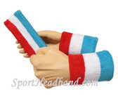 Sky Blue White Red sports sweat headband 4inch wristbands set