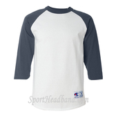 White/ Navy Cotton Tagless Raglan Baseball T-Shirt