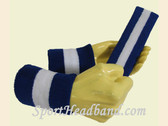 Blue White Blue sports sweat headband wristbands Set