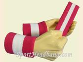 Hot Pink White Hot Pink sports  sweat headband wristbands Set