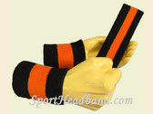 Black Orange Black sports sweat headband wristbands Set