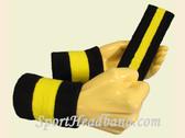 Black Bright Yellow Black sports sweat headband wristbands Set