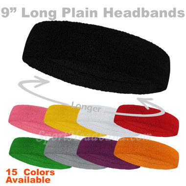 "Long 9"" Plain/Solid Terry Cloth Sport Sweat Headband"