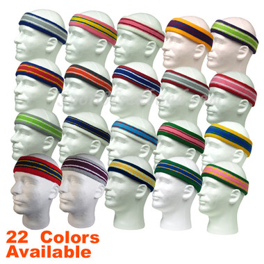 Striped Large Pro Basketball Terry Cloth Sport Sweat Headband with Lines