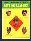 1963 Topps Baseball # 001  NL Batting Leaders Musial, F. Robinson and Aaron VG