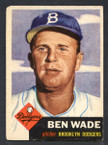 1953 Topps Baseball # 004  Ben Wade Brooklyn Dodgers EX