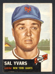 1953 Topps Baseball # 011  Sal Yvars New York Giants EX-1
