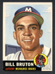 1953 Topps Baseball # 214  Bill Bruton Milwaukee Braves EX/MT-2