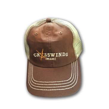 Crosswinds Brand Cotton Twill Trucker Cap - Yellow Logo