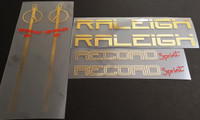 Raleigh Record Sprint Bicycle Decal Set in Mirror Gold