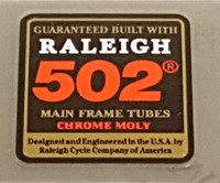 Raleigh 502 Tubing Decal