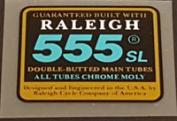 Raleigh 555 SL Double Butted Tubing Decal