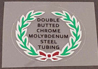 Double Butted Cro Mo Tubing Decal (Burgundy Bow) - Choose Black or White Lettering