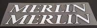 Merlin Down Tube Decals - 1 Pair White w/Black Outline