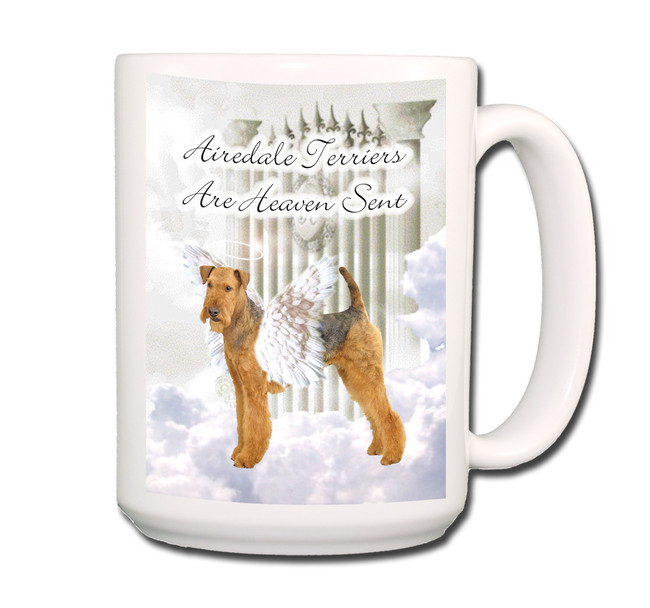 Airedale Terrier Heaven Sent Coffee Tea Mug 15oz
