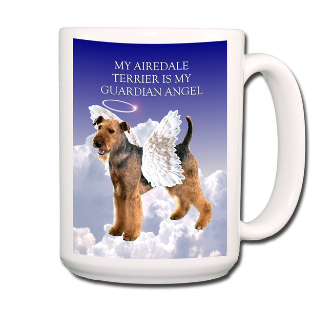 Airedale Terrier Guardian Angel Coffee Tea Mug 15oz