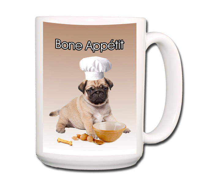 Pug Bone Appetit Chef Coffee Tea Mug 15oz Fawn No 3