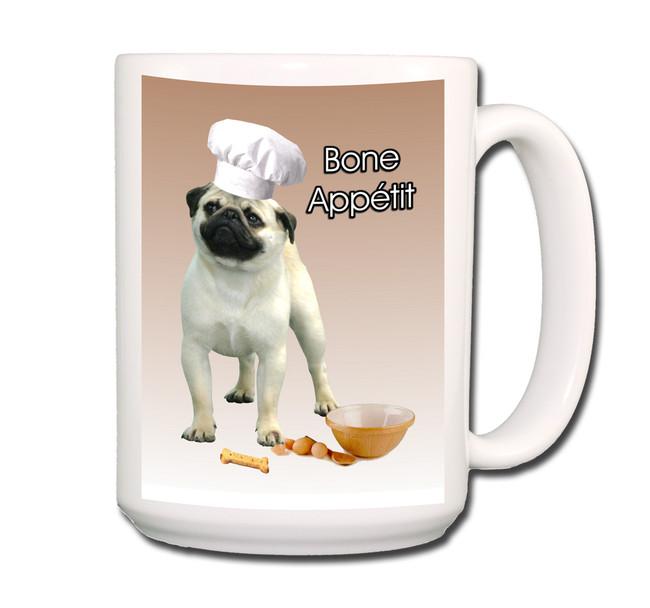 Pug Bone Appetit Chef Coffee Tea Mug 15oz Fawn No 1