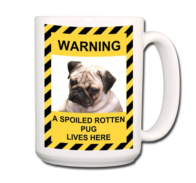 Pug Spoiled Rotten Coffee Tea Mug 15oz Fawn No 1