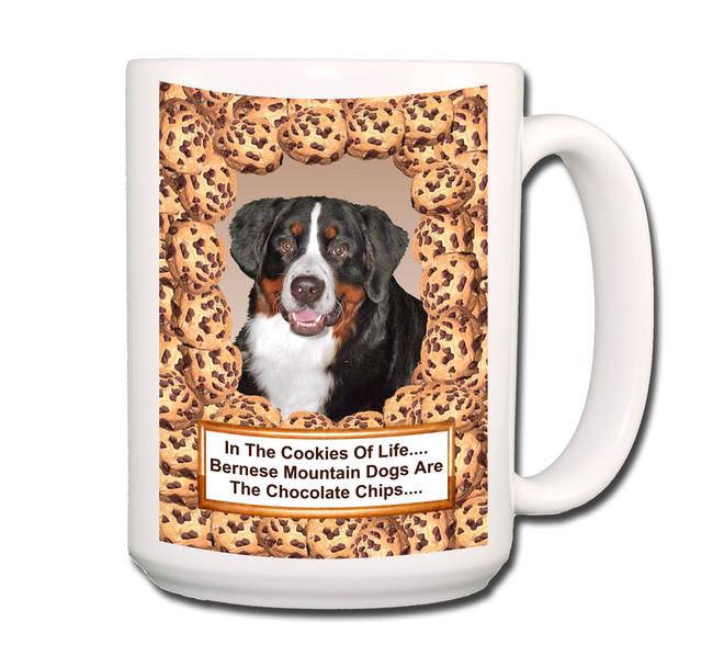 Bernese Mountain Dog Chocolate Chip Cookie Coffee Tea Mug 15oz