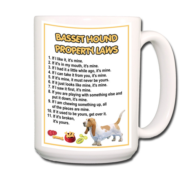 Basset Hound Property Laws Coffee Tea Mug 15oz No 1