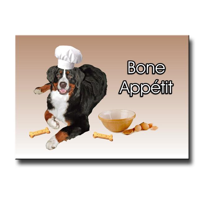 Bernese Mountain Dog Bone Appetit Chef Fridge Magnet