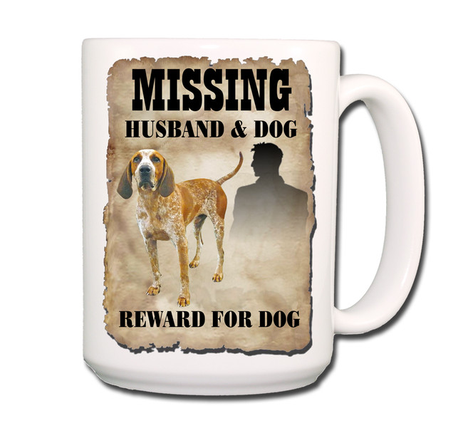 English Redtick Coonhound Husband Missing Reward Coffee Tea Mug 15oz