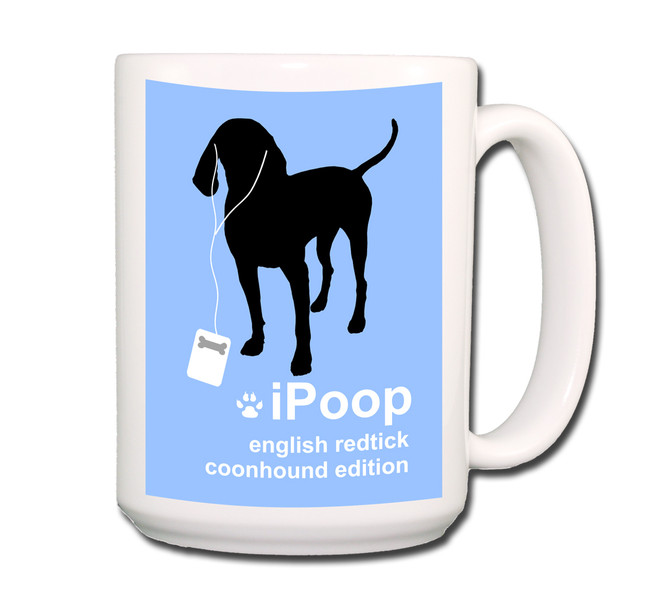 English Redtick Coonhound iPoop Coffee Tea Mug 15oz