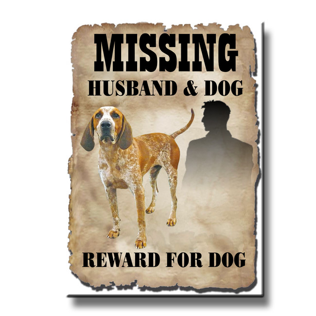 English Redtick Coonhound Husband Missing Reward Fridge Magnet
