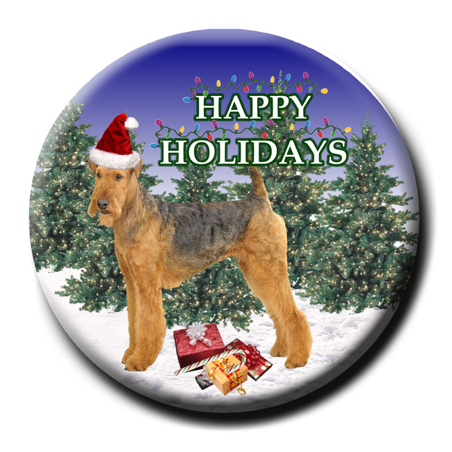 Airedale Terrier Christmas Holidays Pin Badge