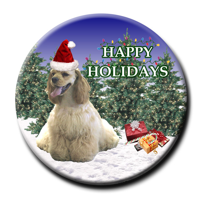 American Cocker Spaniel Christmas Holidays Pin Badge