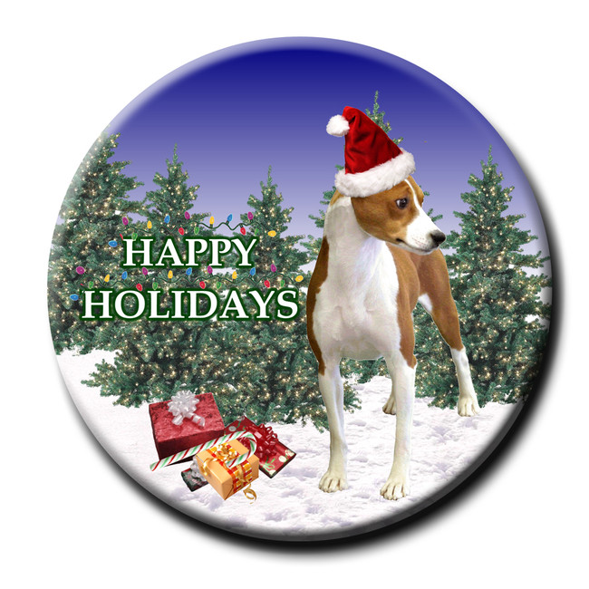 Basenji Christmas Holidays Pin Badge No 1