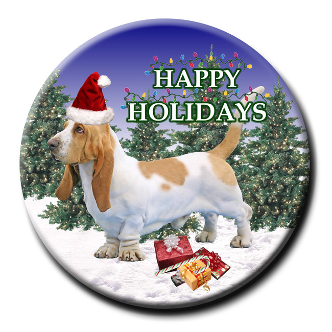 Basset Hound Christmas Holidays Pin Badge No 1