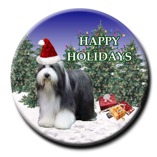 Beaded Collie Christmas Holidays Pin Badge