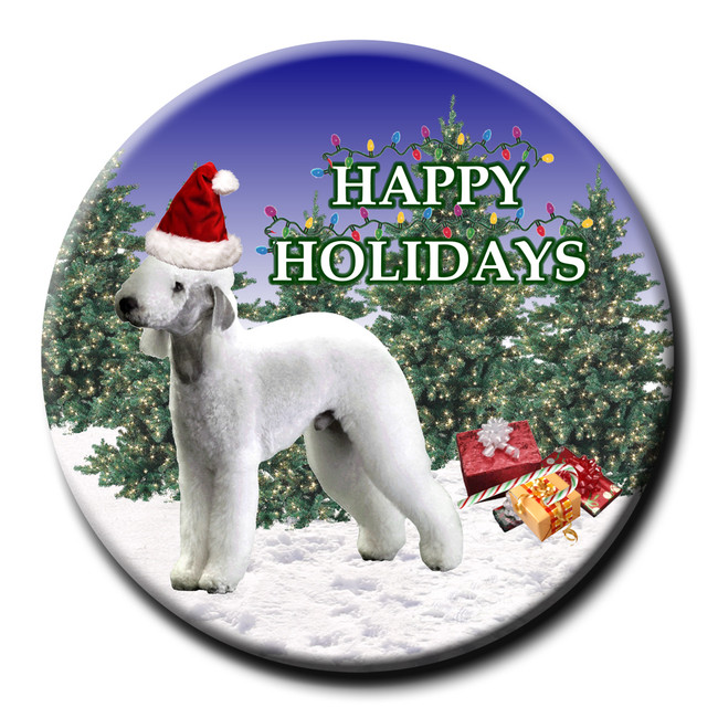 Bedlington Terrier Christmas Holidays Pin Badge