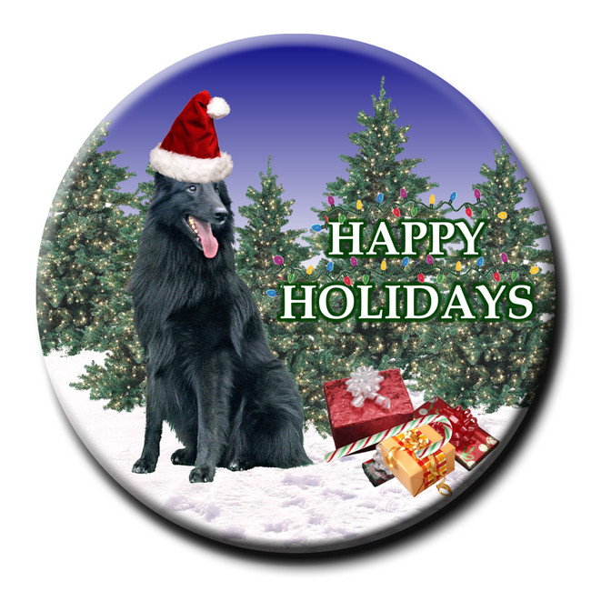 Belgian Sheepdog Christmas Holidays Pin Badge