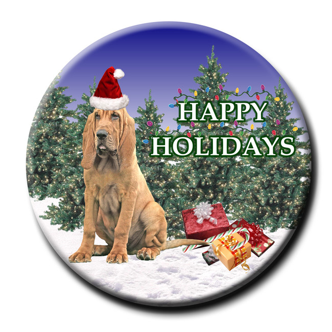 Bloodhound Christmas Holidays Pin Badge