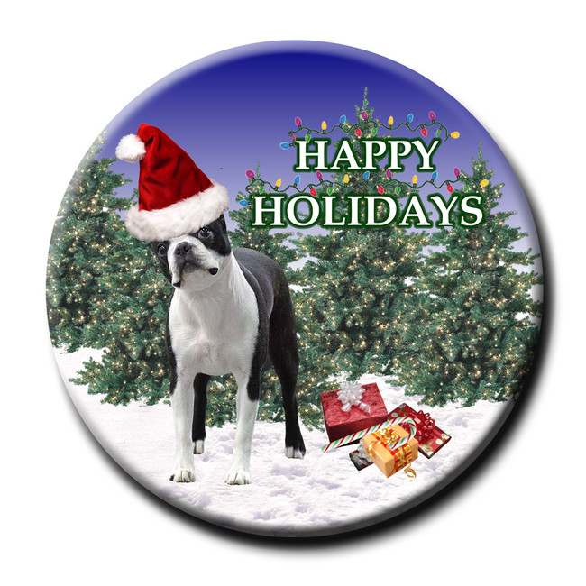 Boston Terrier Christmas Holidays Pin Badge