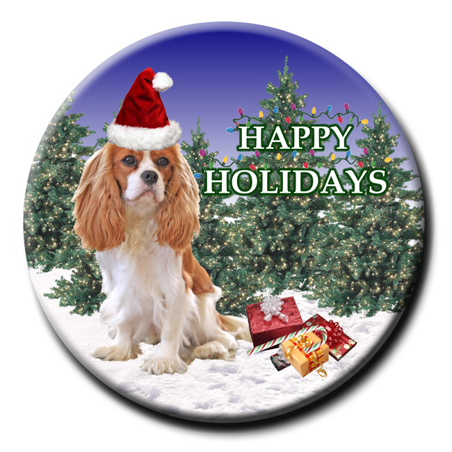 Cavalier King Charles Spaniel Christmas Holidays Pin Badge No 2