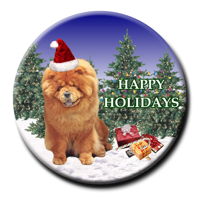 Chow Chow Christmas Holidays Pin Badge