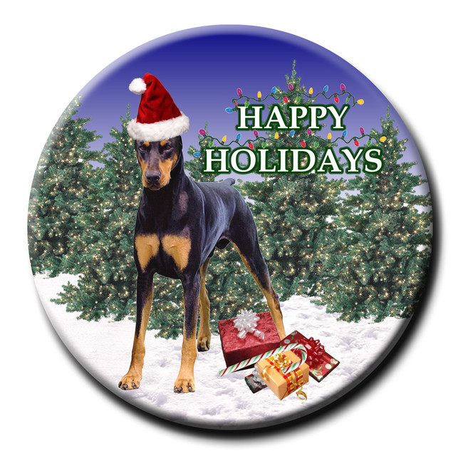 Doberman Pinscher Christmas Holidays Pin Badge No 1