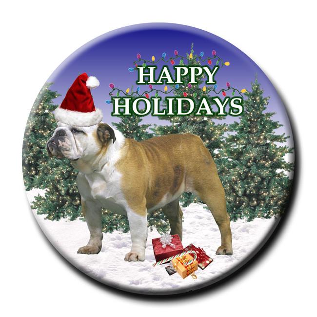 English Bulldog Christmas Holidays Pin Badge No 2