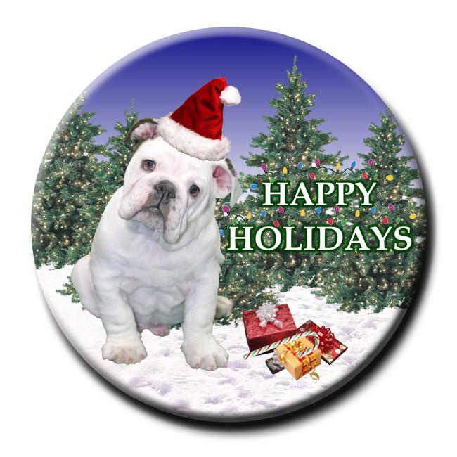 English Bulldog Christmas Holidays Pin Badge No 3