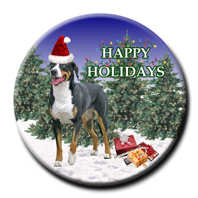 Greater Swiss Mountain Dog Christmas Holidays Pin Badge