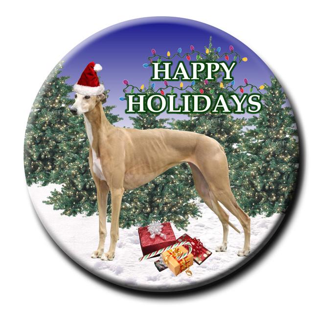 Greyhound Christmas Holidays Pin Badge No 2
