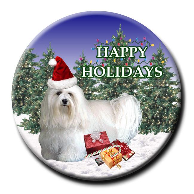 Havanese Christmas Holidays Pin Badge No 1