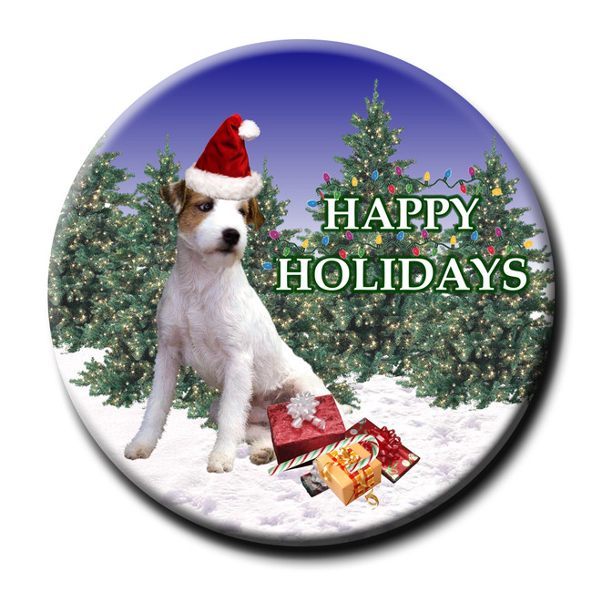 Jack Russell Terrier Christmas Holidays Pin Badge