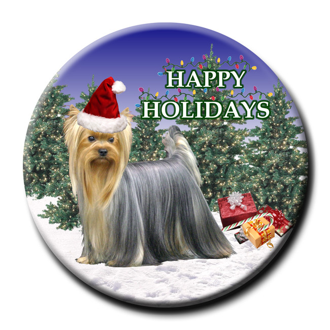 Yorkshire Terrier Christmas Holidays Pin Badge