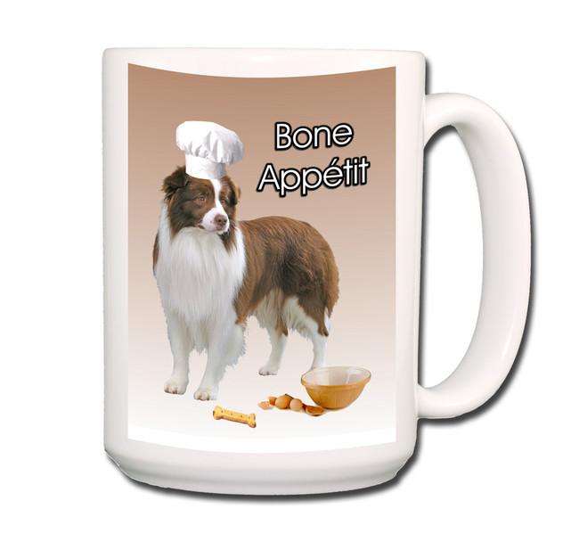 Border Collie Bone Appetit Chef Coffee Tea Mug 15oz No 2