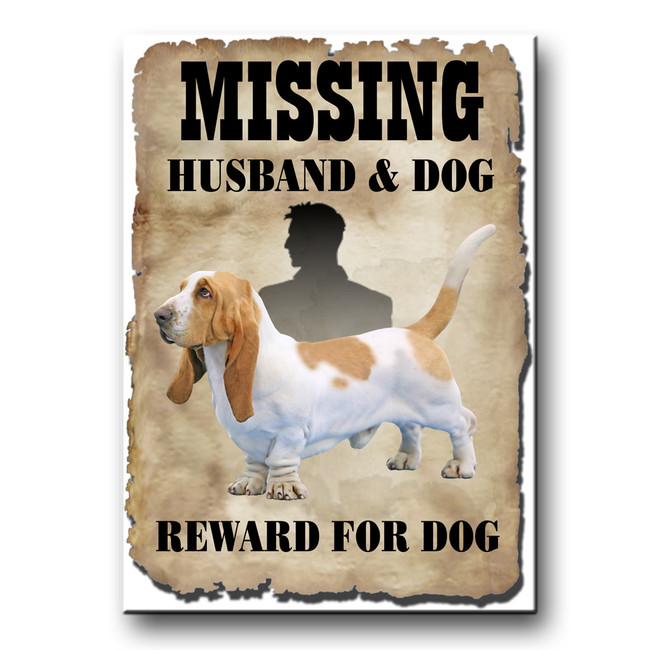Basset Hound Husband Missing Reward Fridge Magnet No 1